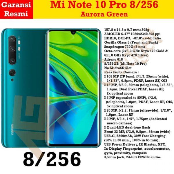 mi note 10 pro 8-256 aurora green