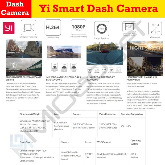 Xiaomi Yi Smart Car Dash Camera ADAS DVR WIFI 165 Degree 1080P 60FPS